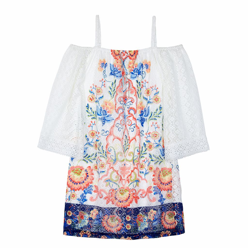 Girls 7-16 IZ Amy Byer Floral Lace Off The Shoulder Dress with Necklace
