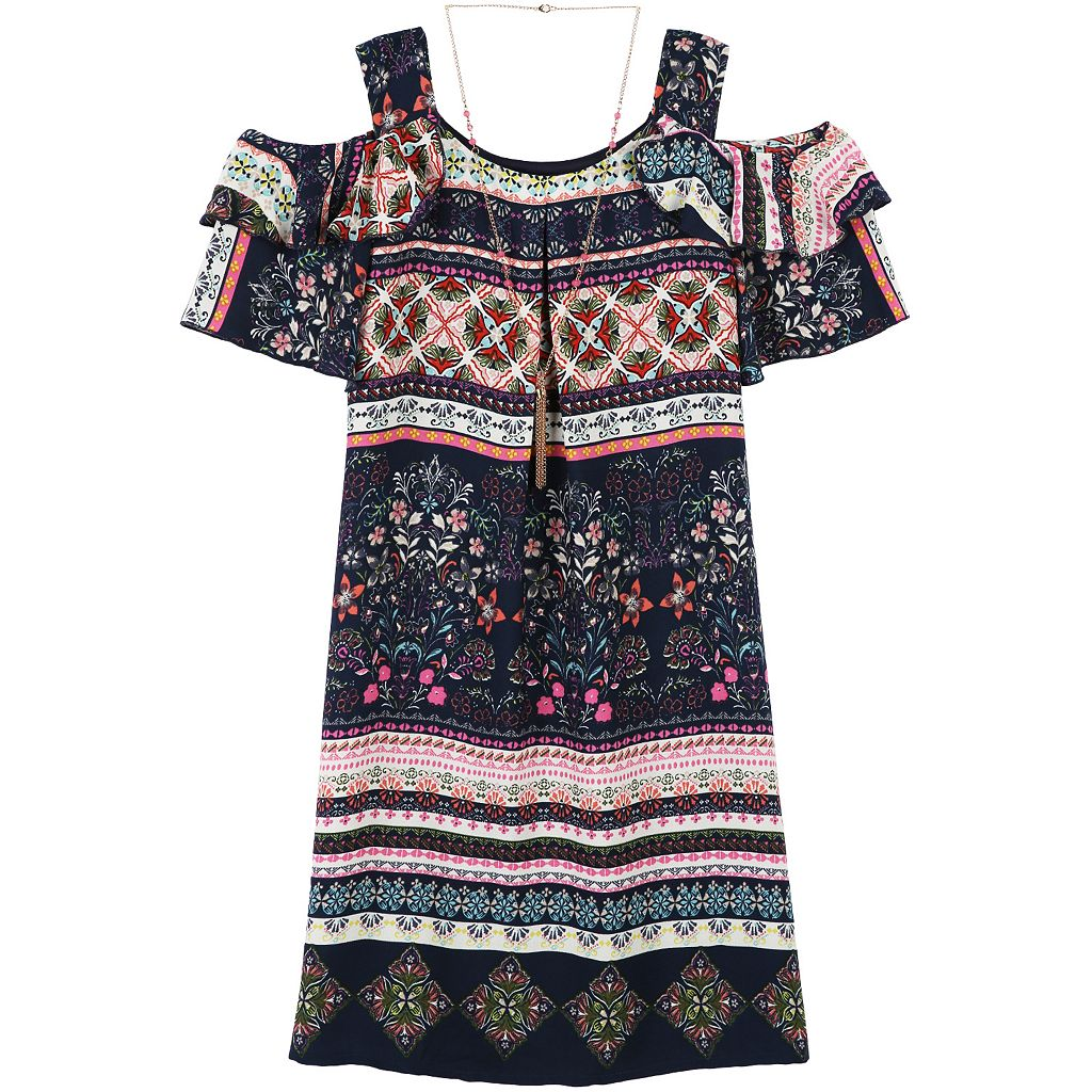 Girls 7-16 & Plus Size Speechless Printed Chiffon Cold Shoulder Dress with Necklace