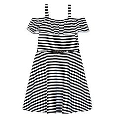 Girls 7-16 IZ Amy Byer Ponte Ruffle Off Shoulder Belted Skater Dress