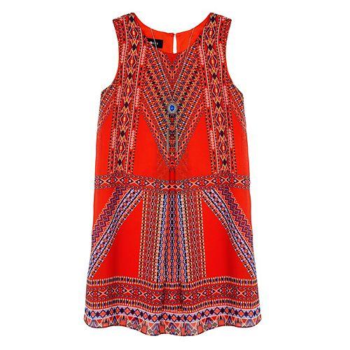 Girls 7-16 IZ Amy Byer Geometric Dress with Necklace