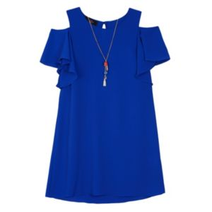 Girls 7-16 IZ Amy Byer Cold Shoulder Dress with Necklace