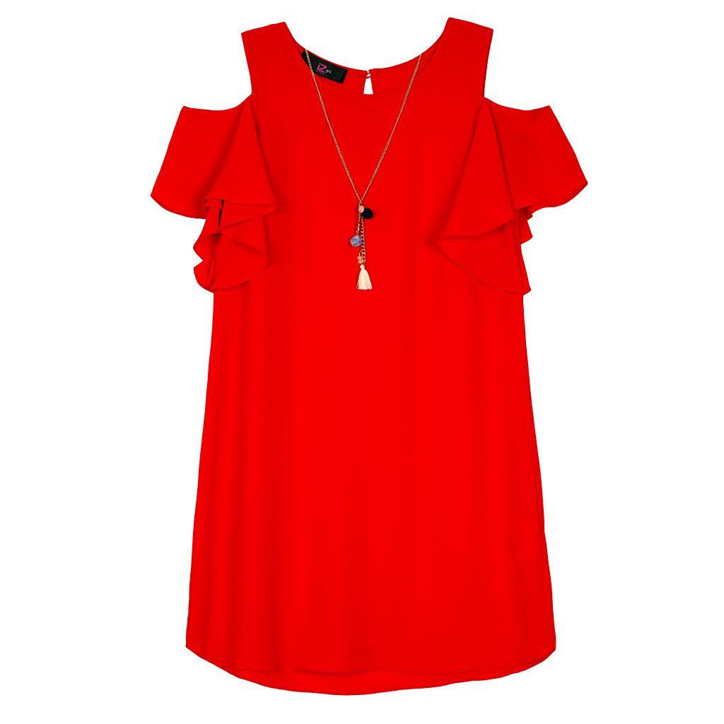 Girls 7-16 IZ Amy Byer Cold Shoulder Dress with Necklace