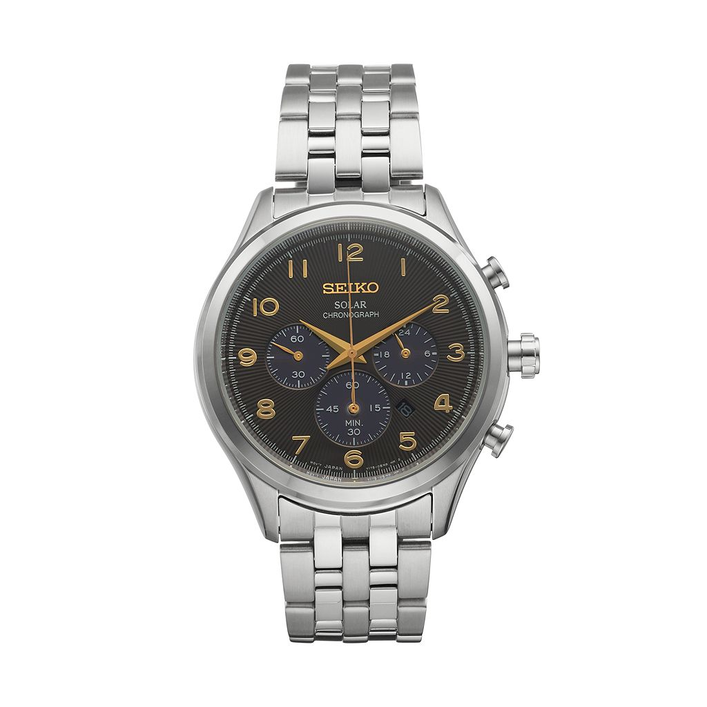 Seiko Men's Classic Stainless Steel Solar Chronograph Watch - SSC563