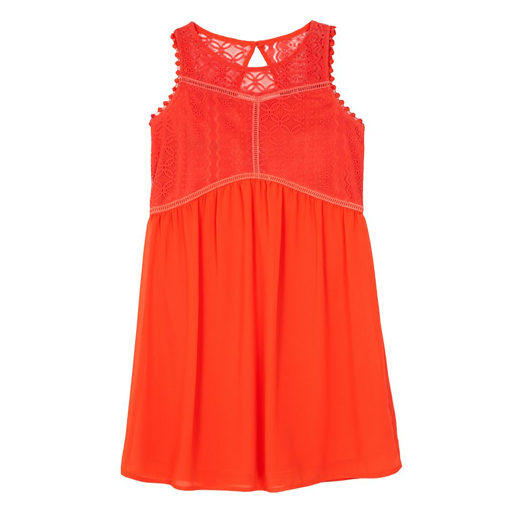 Girls 7-16 IZ Amy Byer Illusion Lace Bodice Shift Dress