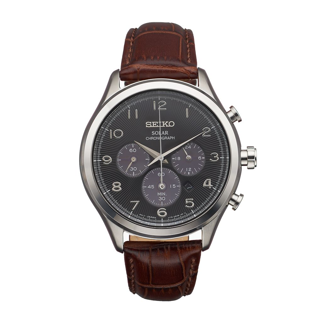 Seiko Men's Classic Leather Solar Chronograph Watch - SSC565