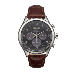 Seiko Men's Classic Leather Solar Chronograph Watch - SSC565