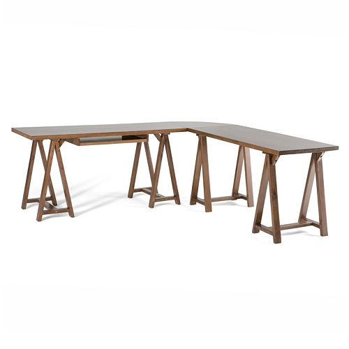 Simpli Home Sawhorse L-Shaped Corner Desk