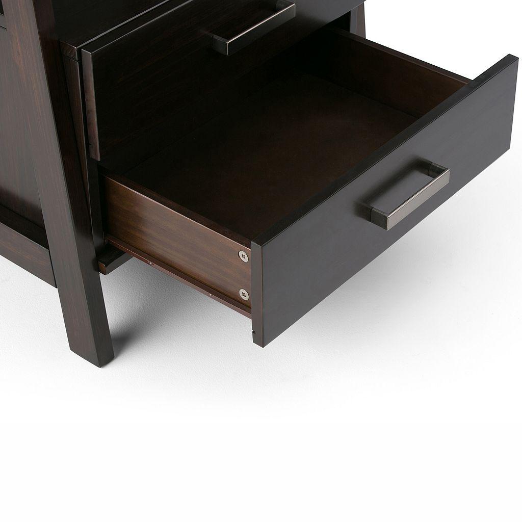 Simpli Home Sawhorse 2-Drawer Ladder Bookshelf