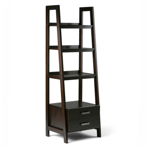 Simpli Home Sawhorse 2-Drawer Ladder Bookshelf