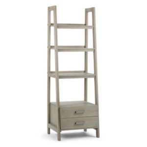 Simpli Home Sawhorse 2-Drawer Ladder Bookshelf!