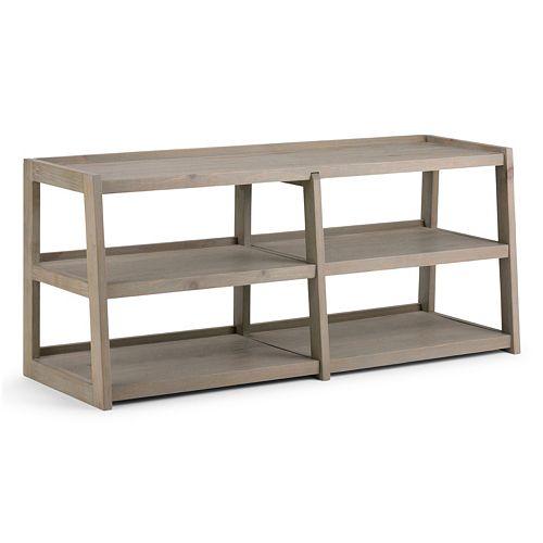 Simpli Home Sawhorse Large 3-Shelf TV Stand