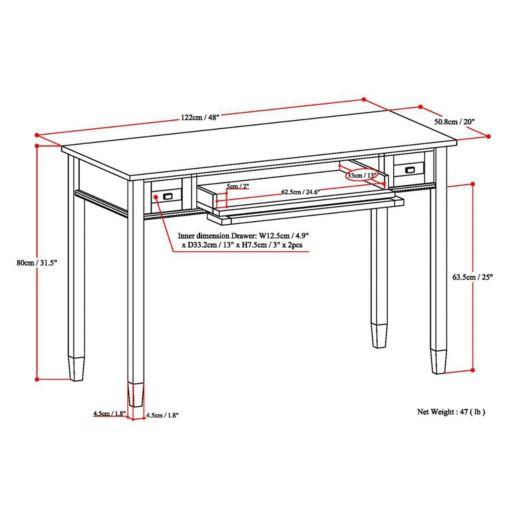 Simpli Home Warm Shaker 2-Drawer Desk