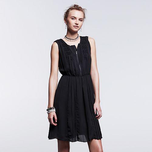 Women's Simply Vera Vera Wang Simply Noir Pintuck Fit & Flare Dress