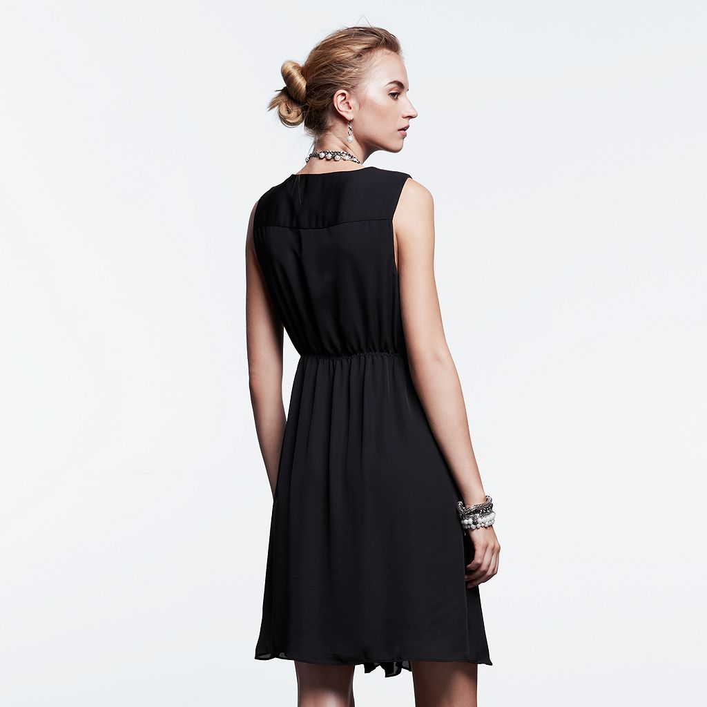 Women's Simply Vera Vera Wang Simply Noir Pintuck Fit & Flare Dress