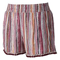 Juniors' Joe B Fringe Hem Shortie Shorts