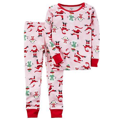 f9bbc9678 Baby Girl Carter s Santa   Snowman Top   Bottoms Pajama Set