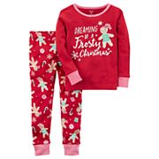 Baby Girl Carter's 'Dreaming of a Frosty Christmas' Gingerbread Girl Top & Bottoms Pajama Set