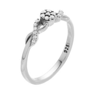 I Promise You Sterling Silver 1/10 Carat T.W. Diamond Flower Promise Ring