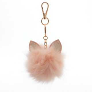 LC Lauren Conrad Cat Ear Faux Fur Pom Pom Key Chain
