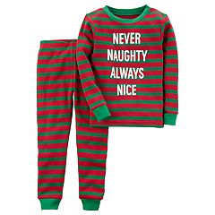 Baby Carter's 'Never Naughty Always Nice' Thermal Striped Top & Bottoms Pajama Set