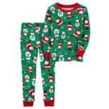 Baby Boy Carter's Santa & Snowman Top & Bottoms Christmas Pajama Set