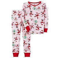 Toddler Girl Carter's Santa & Snowman Top & Bottoms Pajama Set