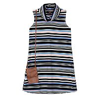 Girls 7-16 IZ Amy Byer Multi-Stripe Ribbed Knit Mockneck Dress with Fringe Crossbody Purse