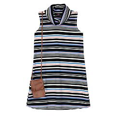 Girls 7-16 IZ Amy Byer Multi-Stripe Ribbed Knit Mockneck Dress with Fringe Crossbody Purse