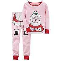 Toddler Girl Carter's Mrs. Claus Graphic Top & Bottoms Pajama Set