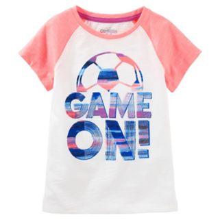 """Girls 4-12 OshKosh B'gosh® """"Game On"""" Soccer Raglan Tee"""