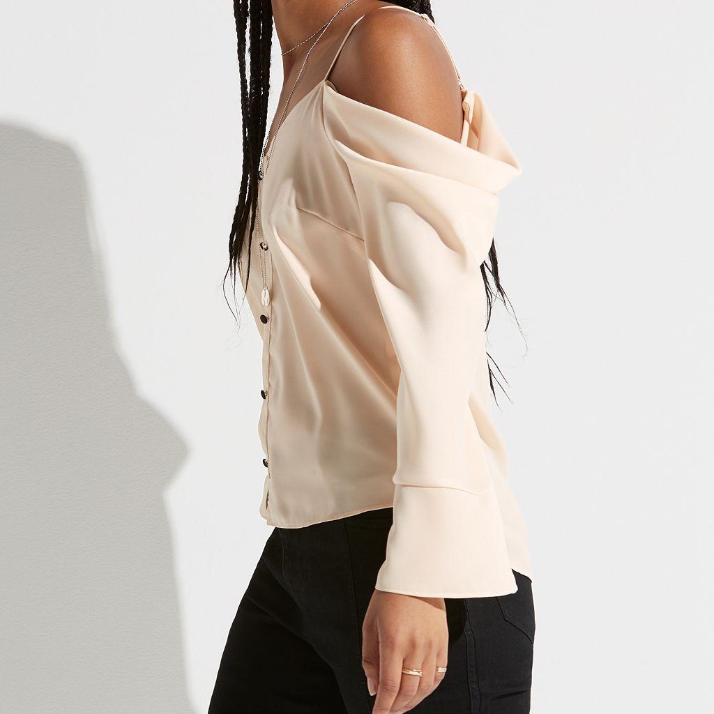 k/lab Button Off-the-Shoulder Top