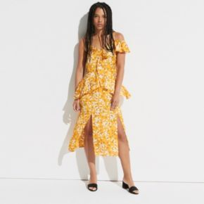 k/lab Floral Waterfall Ruffle One-Shoulder Dress