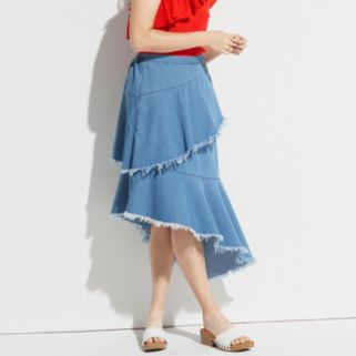 k/lab Tiered Denim Skirt
