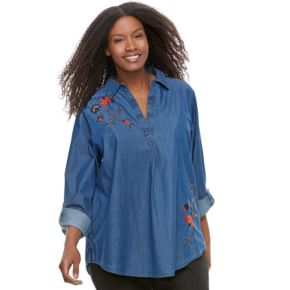 Plus Size SONOMA Goods for Life? Embroidered Plaid Shirt