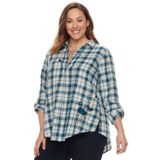 Plus Size SONOMA Goods for Life™ Embroidered Plaid Shirt