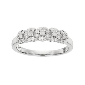 I Promise You Sterling Silver 1/3 Carat T.W. Diamond Halo Promise Ring