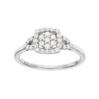 I Promise YouSterling Silver 1/3 Carat T.W. Diamond Flower Square Promise Ring