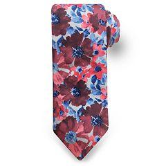 Men's Rooster Watercolor Flower Tie