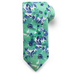Men's Rooster Watercolor Flower Tie