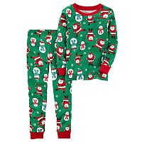 Toddler Boy Carter's Santa & Snowman Top & Bottoms Pajama Set