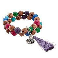 Dana Buchman Beaded Purple Tassel Stretch Bracelet Set