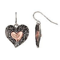 Believe In Two Tone Textured Heart Drop Earrings