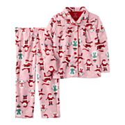 Toddler Girl Carter's Santa & Snowman Microfleece Button-Front Top & Bottoms Pajama Set