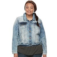 Juniors' Plus Size Mudd® Washed Jean Jacket