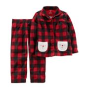 Toddler Girl Carter's Santa Buffalo Check Top & Bottoms Microfleece Pajama Set