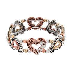 Believe In 'Love' Tri Tone Heart Stretch Bracelet