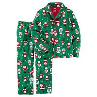 Toddler Boy Carter's Santa & Snowman Microfleece Button-Front Top & Bottoms Pajama Set