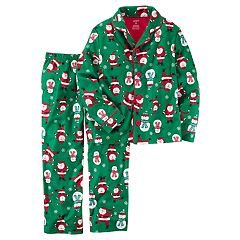 Toddler Boy Carter's Santa & Snowman Microfleece Button-Front Top & Bottoms Pajama Set