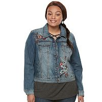 Juniors' Plus Size Mudd® Embroidered Jean Jacket