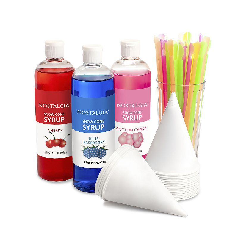 Nostalgia Electrics Snow Cone Kit Cool down with a refreshing treat with this Nostalgia Electrics snow cone kit. Make your own snow cone creations For use will Nostalgia Electrics Snow Cone maker WHAT'S INCLUDED 16-oz. cherry syrup 16-oz. blue raspberry syrup 16-oz. cotton candy syrup 20 cups 20 straws Model no. SCK3 Size: One Size. Color: Multicolor. Gender: unisex. Age Group: adult.